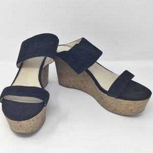 Marc Fisher Cork Wedge Black Leather Sandals 9M